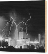 Budweiser Lightning Thunderstorm Moving Out Bw Pano Wood Print