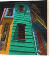 Buenos Aires Caminito Sunshine at Midtnight Painting Wood Print