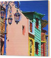 Buenos Aires suburb Caminito with blue lamp Painting Wood Print