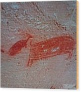 Buffalo And Elk Cave Painting Wood Print