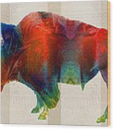 Buffalo Animal Print - Wild Bill - By Sharon Cummings Wood Print