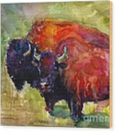 Buffalo Bisons Painting Wood Print