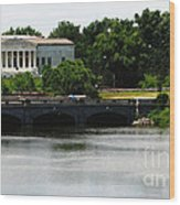 Buffalo History Museum And Delaware Park Hoyt Lake Oil Painting Effect. Wood Print