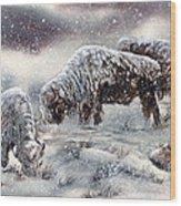 Buffalo In Snow Wood Print