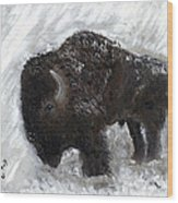 Buffalo In The Snow Wood Print