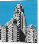 Buffalo New York Skyline 1 - Ice Blue Wood Print