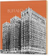Buffalo New York Skyline 2 - Coral Wood Print