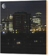 Buffalo Night Moves Wood Print by Peter Chilelli