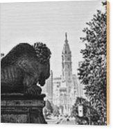 Buffalo Statue On The Parkway Wood Print