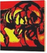 Buffalo Sun Set Wood Print