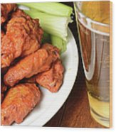 Buffalo Wings With Celery Sticks And Beer Wood Print