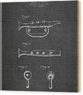 Bugle Call Instrument Patent Drawing From 1939 - Dark Wood Print