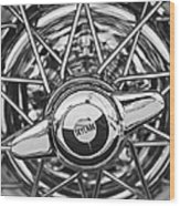 Buick Skylark Wheel Black And White Wood Print