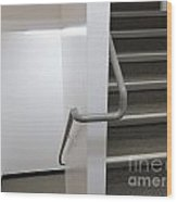 Building Interior White Staircase With Handrails Wood Print