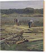 Building Site At Wesslingersee, 1876 Oil On Canvas Wood Print