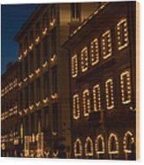 Building Windows Outlined In Lights Wood Print