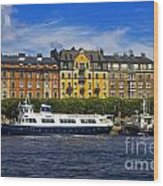 Buildings And Boats Wood Print