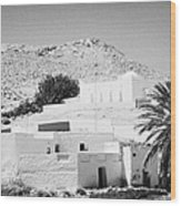 buildings and palm trees overground on the surface at Matmata Tunisia Wood Print