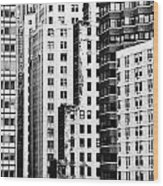 Buildings Bw Wood Print