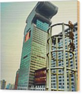 Buildings In Shanghai Wood Print