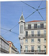 Buildings In The Chiado Neighbourhood Of Lisbon Wood Print