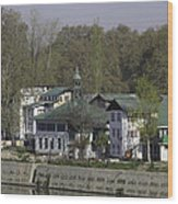 Buildings On The Shore Of Section Of Dal Lake In Srinagar Wood Print