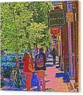 Buk And Nola Gift Shop Decor Boutique Rue Laurier Art Of Montreal Street Scene Carole Spandau Wood Print