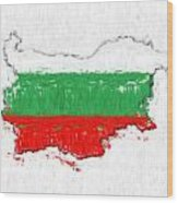 Bulgaria Painted Flag Map Wood Print