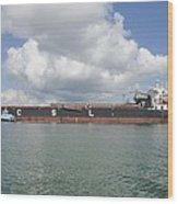 Bulk Cargo Ship With Tug Escort Wood Print