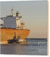 Bulk Carrier Being Guided By Tugs Close Up On Bridge Wood Print by Colin and Linda McKie
