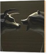 Bull And Bear Market Trend Bronze Castings Wood Print by Allan Swart