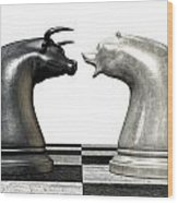 Bull And Bear Market Trend Chess Pieces Wood Print