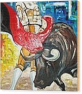 Bull Fighter Wood Print by Andrea Vazquez-Davidson