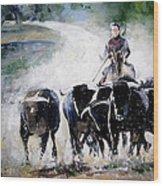 Bull Herd Wood Print