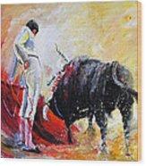 Bull In Yellow Light Wood Print
