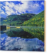 Bull Lake In Fall Wood Print