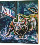 Bull Market Night Wood Print by Teshia Art