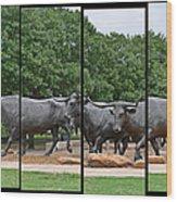 Bull Market Quadriptych Wood Print