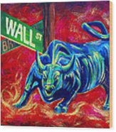 Bull Market Wood Print by Teshia Art