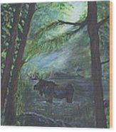 Bull Moose Pond Wood Print