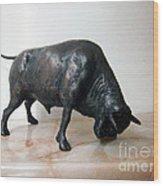 Bull Wood Print by Nikola Litchkov