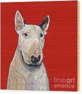 Bull Terrier On Red Wood Print