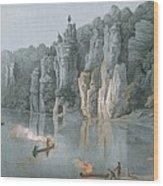 Bullard Rock On The New River Wood Print