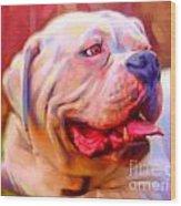 Bulldog Portrait Wood Print by Iain McDonald