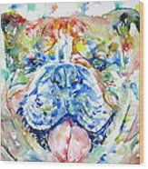 Bulldog - Watercolor Portrait Wood Print