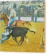 Bulldoggin Cowboys Wood Print