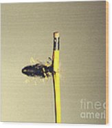 Bullet Piercing Pencil Wood Print by Gary S. Settles