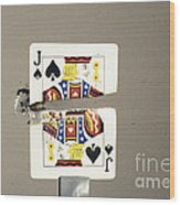Bullet Piercing Playing Card Wood Print by Gary S. Settles
