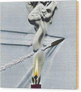 Bullet Shot Through Candle Flame Wood Print