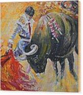Bullfighting In Neon Light 02 Wood Print
